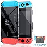 Dockable Nintendo Switch Case,Clear Protective Case Cover for Nintendo Switch and Joy-Con Controller with a Tempered Glass Screen Protector-Clear