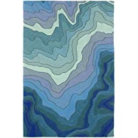 Liora Manne RV123A77203 Fortina Ocean Waves Rug, Indoor/Outdoor, Water
