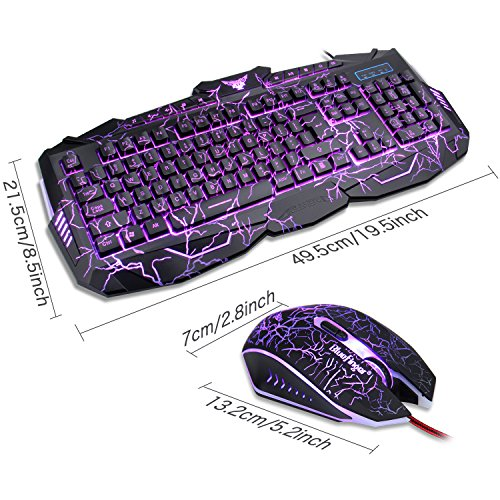 3c68b9ee1f0 BlueFinger Backlit Gaming Keyboard Mouse Combo with LED Gaming ...