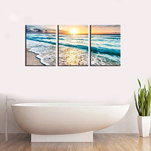 - Youk Art 3 Panel Canvas Wall Art for Home Decor Blue Sea Sunset White Beach Painting The Picture Print On Canvas Seascape the Pictures For Home Decor Decoration,Ready to Hang 12x16 Inch 3pcs/set