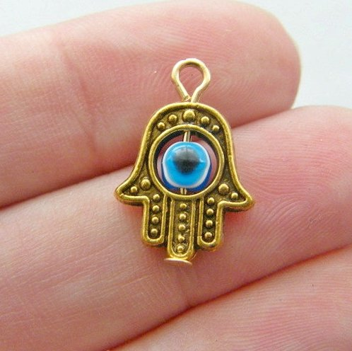 10 Small Ornate Hamsa Hand of Fatima Charms 18x13mm Opaque Blue Glass Bead Gold Tone (CB026)