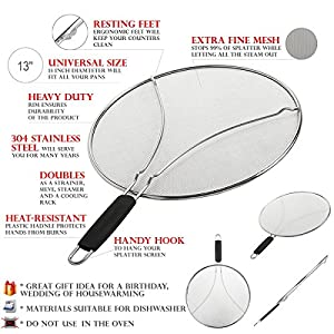 "Grease Splatter Screen for Frying Pan 13"" - Stops 97% of Hot Oil Splash - Protects Skin from Burns - Splatter Guard for Cooking - Iron Skillet Lid Keeps Kitchen Clean - Stainless Steel"