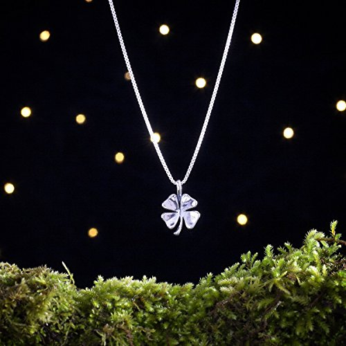 (Sterling Silver Four Leaf Clover - Lucky Charm - (Pendant or Necklace))