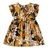 NUWFOR Toddler Baby Kids Girls Fly Sleeve Ribbons Ruched Floral Princess Dresses (Yellow,6-12 Months)