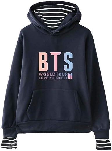 BTS - Sudadera con capucha para niña, 100% algodón, con texto en inglés