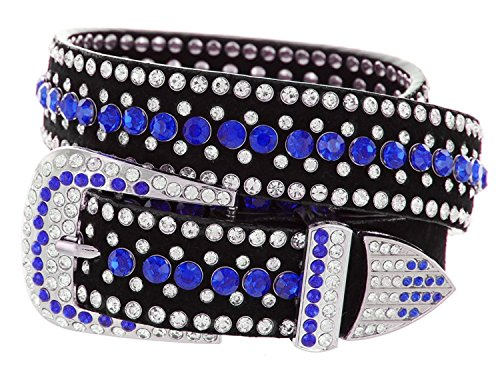 Ladies Western Rhinestone Bling Cowgirl Belt (Dark Blue, M(34
