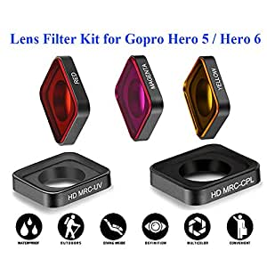 QKOO 5 in1 Lens Filter Cover Housing Case Full Color Filter Red / Magenta / Yellow / HD MRC-UV / HD MRC-CPL Circular polarizer Camera Lens Filter Kit For GoPro Hero 5 / Hero 6