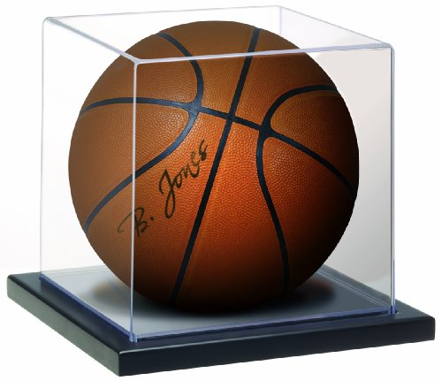 MCS Full Size Basketball-Soccer Ball Display Case, Clear with Black Base (53975)