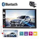 Double Din Bluetooth Car Stereo 7 Inch Touch Screen FM Radio Receiver Mirror Link for iOS Android Phones with TF Card USB AUX-in Input Port + Backup Camera and Remote Control
