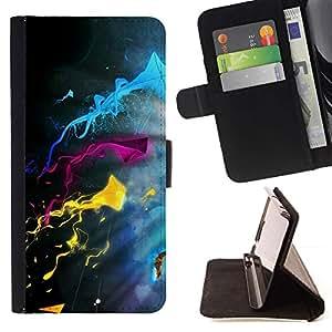 DEVIL CASE - FOR HTC One M7 - Color Splash - Style PU Leather Case Wallet Flip Stand Flap Closure Cover