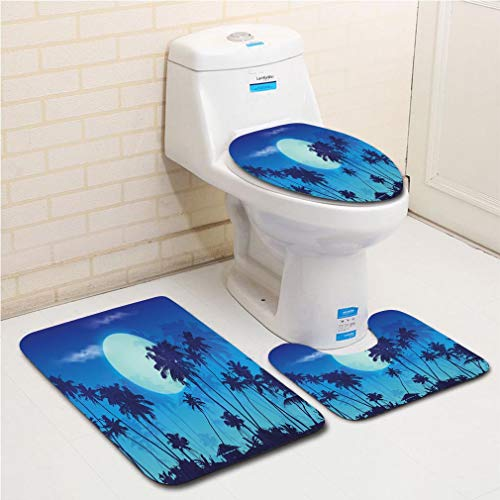 Family bathroom set of 3, bathroom rug + contour pad + lid toilet seat Dark Blue,Big Full Moon Twilight Scenery Palm Silhouettes Tropical Island,Dark Blue Sky Blue Turquoise flannel carpet -
