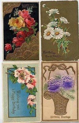 8 Happy Birthday Postcards 1910 - 1915 All (1910 Postcard)