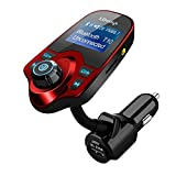 Bluetooth FM Transmitter,LDesign Universal Wireless Radio Transmitter Car Kit with AUX Input 1.44 Inch Display TF Card Reading USB Charging Music Controls & Hands-Free Calling for iPhone, Samsung, LG, HTC, Nexus, Motorola, Sony Android (Red)