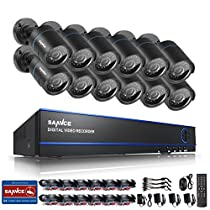 SANNCE 16CH DVR (12) 720P HD CCTV Surveillance System Motion Detection Alarm & Remote View Night Vision Outdoor Security Camera System (No HDD)
