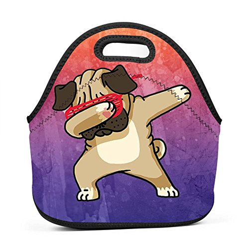 WWINL Dabbing Pug Lunch Bag Insulated Reusable Neoprene Lunch Box Waterproof Tote Bento Bag With Zippe Handbag For Men, Women, Adults, Kids, Girls, Boys