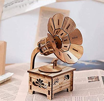 Amazon Com Vplus Wooden Phonograph Model Retro Music Box Hand Crank