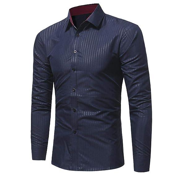 BaZhaHei-Camisetas de hombre Moda Blusa de Hombre Camisas de Hombre Camisa de Manga Larga