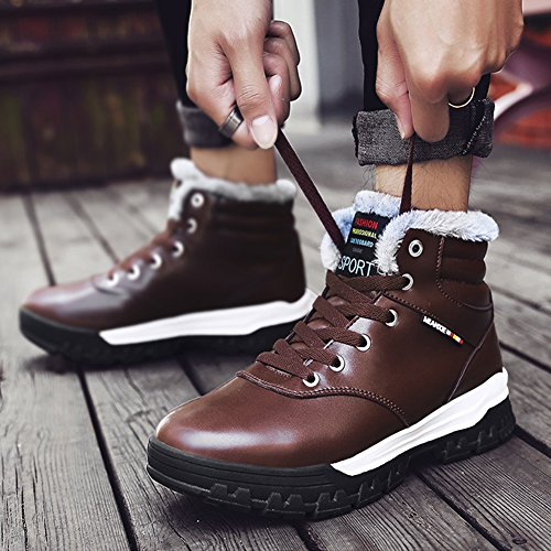 Botas De Nieve Impermeables Para Hombre De Fung-wong Zapatos De Cuero Cálidos Con Forro De Piel Plena Marrón