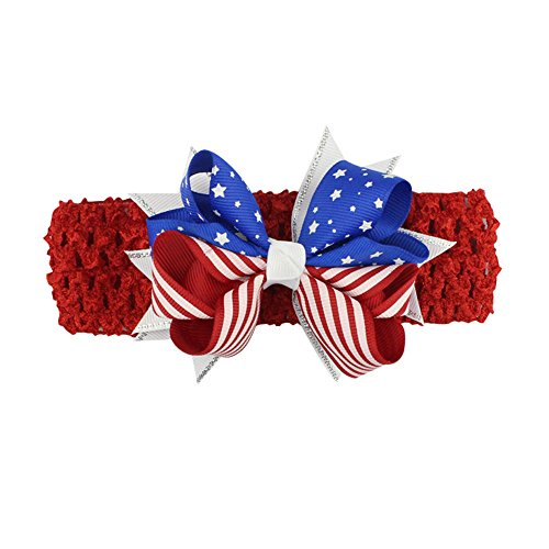 Baby Girl Headbands, Newborn Infant Toddler Hairbands with Bows for Childs 4th of July Patriotic Hair Decor Accessories Red ()