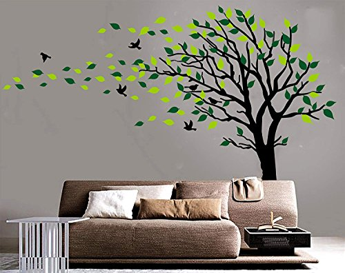 Large Tree Blowing in The Wind Tree Wall Decals Wall Sticker Vinyl Art Kids Rooms Teen Girls Boys Wallpaper Murals Sticker Wall Stickers Nursery Decor Nursery Decals (Black and Green,Left)