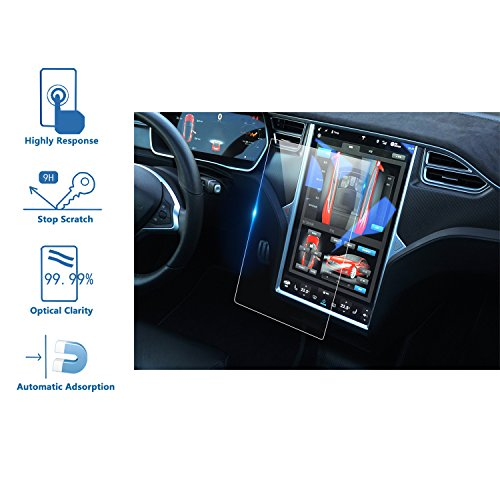 LFOTPP Tempered Glass Touch Screen Protector for 2016 2017 Tesla Model X / 2012-2017 Model S, 60 60D 70 70D P85D 90D 100 P100D 75D P90D - Glasses Models