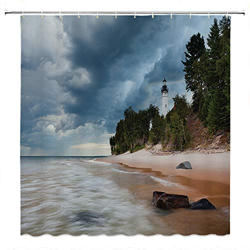 SATVSHOP Artistic-Fabric-Shower-Curtain-with-Reinforced-Buttonholes-Lighthouse-Au-Sable-Lighthouse-in-d-ock-National-Lak-Hore-Michigan-USA.W96-x-L72-inch]()