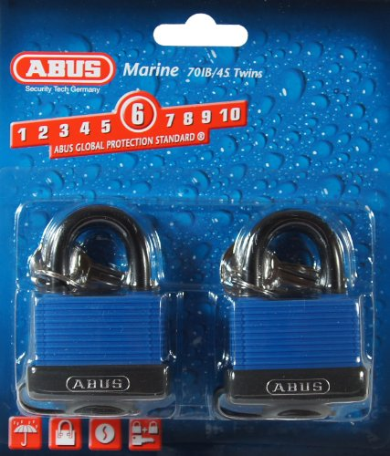Abus Brass Padlock - ABUS 70/45 All Weather Solid Brass Padlock Keyed Alike - Stainless Steel Shackle - 2 Pack