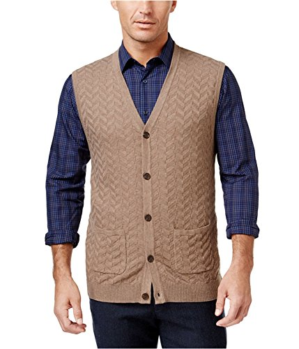 Tasso Elba Chevron Mens Small Button-Front Vest Sweater -