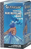 Aluf Plastics 710751 Ultrasac Heavy Duty Professional Quality Recycling Trash Bag, 33 Gallon Capacity, 38'' Length x 33'' Width, Blue (Case of 50)