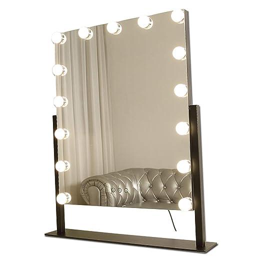 Espejo de vanidad Grande para Maquillaje de Hollywood-Blanco ...