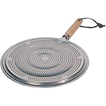 """ArmaGedon Simmer Ring Heat Diffuser, Reducer Flame Guard for Gas and Electric Stove, Induction Hob Heat Diffuser top stovetop Heat dissipation, Aluminum with Wood Handle, Coffee Cooking Pans 8.25"""""""