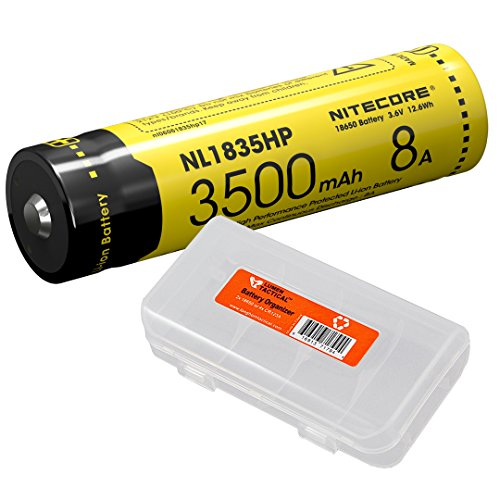 Nitecore NL1835HP 3500mAh 18650 High Performance Li-ion Rechargeable Battery for High Drain Flashlights Like EC23, HC33, MH12GTS, Fury with LumenTac Battery Organizer