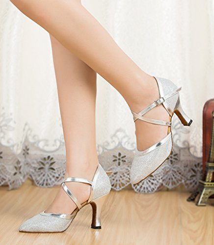 Stylish Professional Round Morden Wedding Latin Material Dance CRC Shoes Party Womens Sparkle Silver Tango Synthetic Salsa Toe Ballroom 6RnqqxB5wE