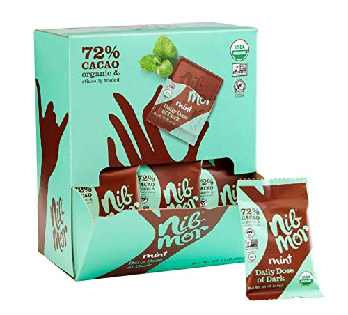Nib Mor Organic Dark Chocolate Squares   Daily Dose Individually Wrapped Chocolates with 72% Cacao - Mint - .35 ounce (60 Count) ()