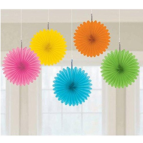Amscan Multicolor Mini Hanging Fans, 5 Ct. | Party Decoratio