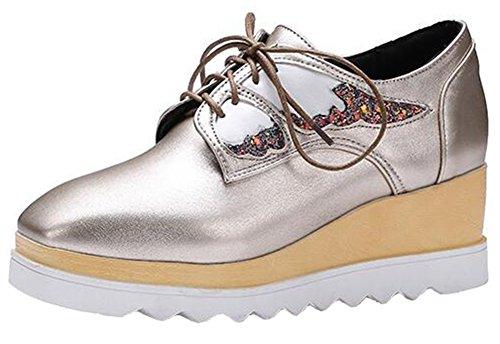Summerwhisper Mujeres Trendy Sequins Wings Square Toe Lace Up Wedge Plataforma De Tacón Medio Oxfords Zapatos De Oro