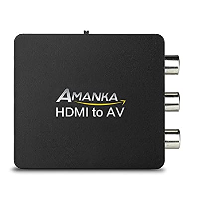 Amanka Mini 1080P HDMI to AV 3RCA CVBs Composite Video Audio Converter Adapter Support PAL/NTSC for PC Laptop TV Xbox PS3 PS4 VHS VCR Camera DVD,Black