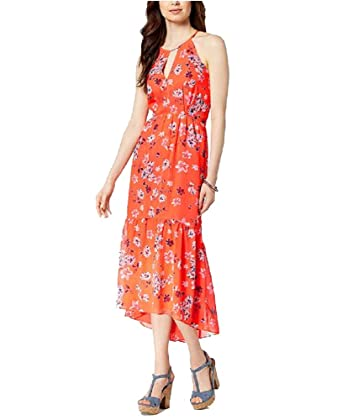 680f3f43e72 Vince Camuto Floral-Print Chiffon High-Low Maxi Dress (Orange