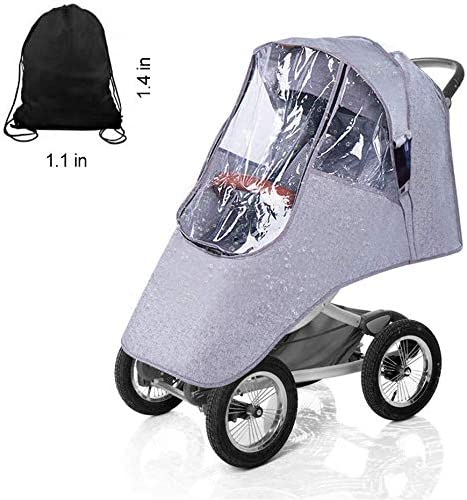 Stroller Rain Cover Baby Travel Weather Shield Universal Buggy Pushchair Raincover Windproof Dust Snow Travel Outdoor Rain Cover EVA Transparent for Baby Stroller