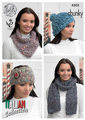 King Cole Ladies Hat Scarves Headband Verona Knitting Pattern