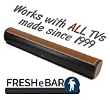 Bluetooth Leather Television Sound Bar - FRESHeBAR TV Soundbar - 24 inch, 90 Watt with Built-in Subwoofer - Dark Brown / Brown Leather