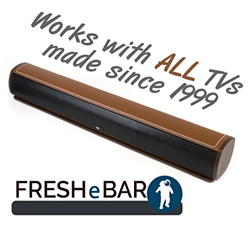 Bluetooth Leather Television Sound Bar – FRESHeBAR TV Soundbar – 24 inch, 90 Watt with Built-in Subwoofer – Dark Brown / Brown Leather