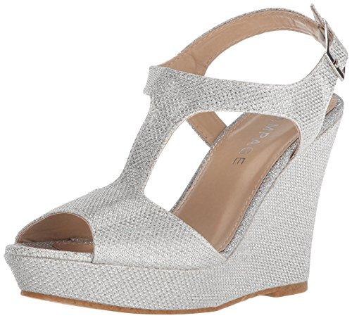 Rampage Women's Candelas Platform Ankle Strap Dress Wedge Sandal, Silver Glitter mesh, 5.5 M US - Mesh Wedge Sandals