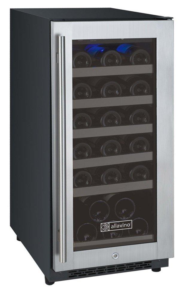 "Allavino VSWR30-1SSRN - 15"" 32-Bottle Single Zone Wine Refrigerator - Hinge on Right"