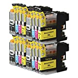 Toner Clinic TC-LC103 16PK 4 Black 4 Cyan 4 Magenta 4 Yellow Compatible Inkjet Cartridge for LC-101 LC-103 LC-103 XL LC-103BK, LC-103C, LC-103M, LC-103Y - 16 Pack Compatible Ink Cartridges