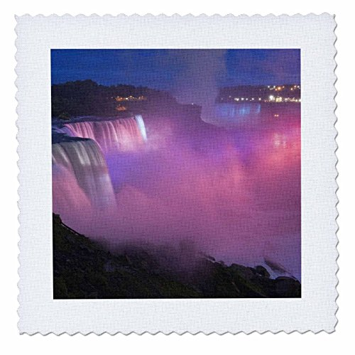 (3dRose qs_93048_2 New York, Niagara Falls. Mist with Pink Light-Us33 Bja0032-Jaynes Gallery-Quilt Square, 6 by 6-Inch)