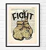 Fight the Good Fight of Faith - 1 Timothy 6:12 - Vintage Bible verse page wall ART PRINT, UNFRAMED, Christian art, boxing gloves decor poster gift, 8x10 inches