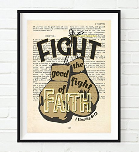 - Fight the Good Fight of Faith - 1 Timothy 6:12 - Vintage Bible verse page wall ART PRINT, UNFRAMED, Christian art, boxing gloves decor poster gift, 8x10 inches