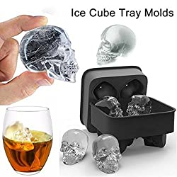 Marketworldcup Skull Shape 3D Ice Cube Mold Maker Bar Party Silicone Trays Chocolate Mold Gift