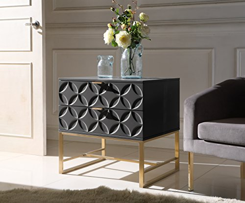Iconic Home Mantau Nightstand Side Table with 2 Self Closing Lacquer Drawers Brass Finished Stainless Steel Frame Base, Modern Contemporary, Black